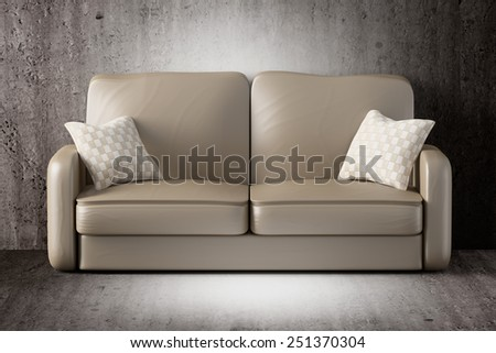 3d rendering of a sofa on a dirty room