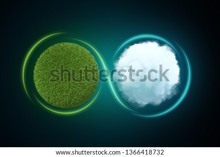 3d rendering of a sphere covered in green lawn next to a white round fluffy cloud with a light line traced around them forming the infinity sign. Maintain eco-balance. Nature conservation. Live in