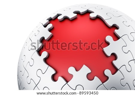 3d rendering of a spherical puzzle with pieces missing