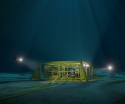 3D rendering of a subsea production manifold being inspected by ROVs