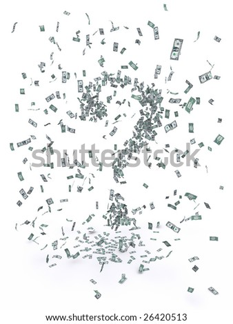 3d rendering of a swarm of falling 1-dollar bills creating a question mark