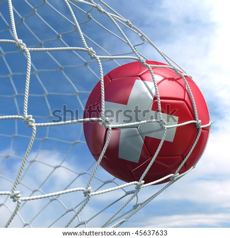 3d rendering of a Swiss soccer ball in a net