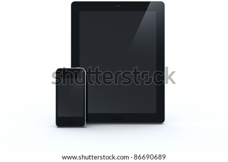 3d rendering of a tablet and a smart phone