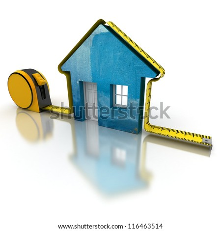3D rendering of a tape measure around a simple house