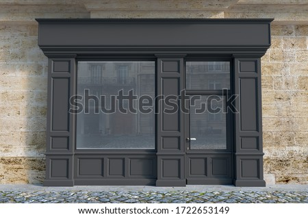 3D rendering of a traditional storefront façade with dark gray wood. Photo stock ©