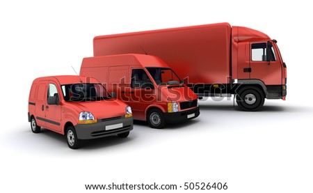 3D rendering of a truck a van and a lorry against a neutral background