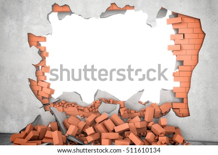 3d rendering of a white broken wall with a white hole and a pile of rusty red bricks beneath. Construction and repair. Building and Reconstruction. House-building. General maintenance. Stock photo ©