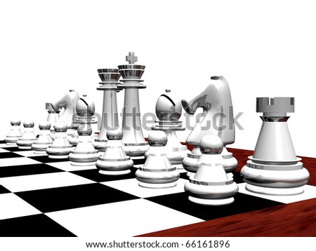 3D rendering of a white chess set