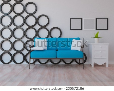 3D rendering of a white nice interior of a room with blue furniture