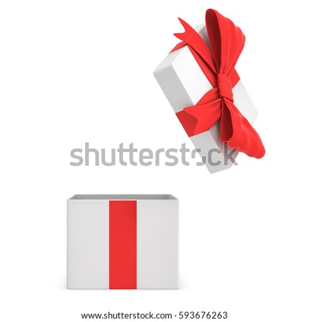3d rendering of a white open gift box tied with a red bow on white background. Gifts and presents. Sales and promotions. Winnings.