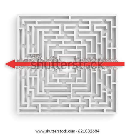 3d rendering of a white square maze in side view divided in half by a red arrow line. Mazes and labyrinths. Arrow strike. Business issues.
