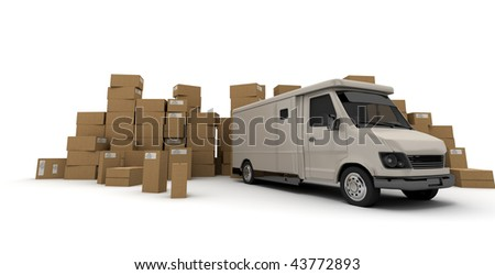3D rendering of a white van and piles of cardboard boxes  (I made up the information on the labels so no copyright issue)