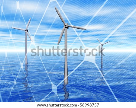 3D rendering of a wind turbines in the sea with solar panel