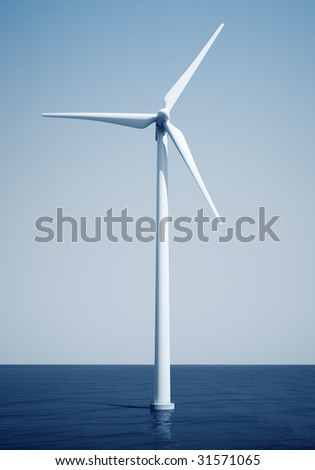 3d rendering of a windturbine on the ocean