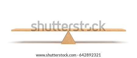 3d rendering of a wooden plank balancing on a wooden triangle isolated on white background. Seesaw and teeter-totter. Equilibrium. Balancing life.