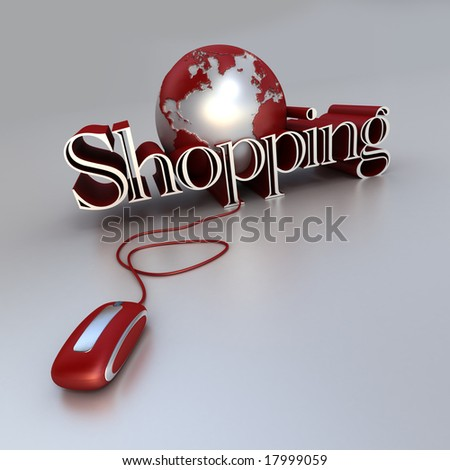 3D-rendering of a world globe, a computer mouse and the word Shopping in blue and silver shades