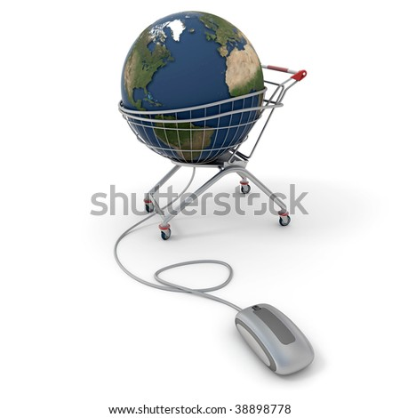 3D rendering of a world globe on a supermarket trolley connected to a computer mouse