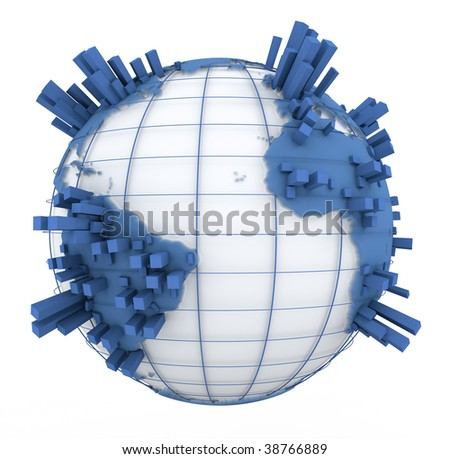 3D rendering of a world map in white and blue with towers coming out of the continents