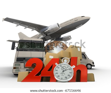 3D rendering of  a world map, packages a van, a truck and an airplane with the words 24 Hrs and a chronometer - stock photo