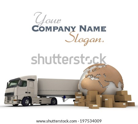 3D rendering of a world map packages and a truck