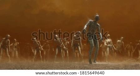 3d rendering of a zombie horde. Stock fotó ©