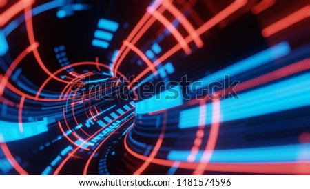 3D Rendering of abstract fast moving stripe lines with glowing data light flare. High speed motion blur. Concept of leading in business, Hi tech products, warp speed science, technology background Stockfoto ©