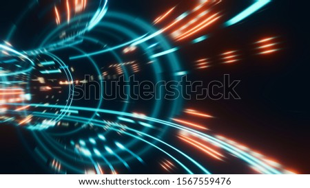 3D Rendering of abstract fast moving stripe lines with glowing light flare. High speed motion blur. Concept of leading in business, Hi tech products, warp speed wormhole science. Stockfoto ©