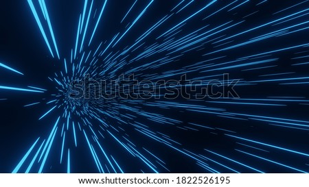 3D Rendering of abstract fast moving stripe lines with glowing light flare.High speed motion blur and technology background Photo stock ©