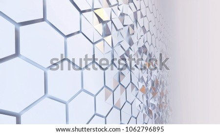 3d rendering of abstract hexagon geometric perspective grid. Scattered white futuristic hexagonal layered wall.Triangular flying pieces of surface. Angle view. Sci-fi background