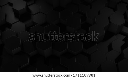3D rendering of abstract hexagonal geometric black surfaces in virtual space. Randomly placed geometric shapes. Polyhedral wall of hexagons