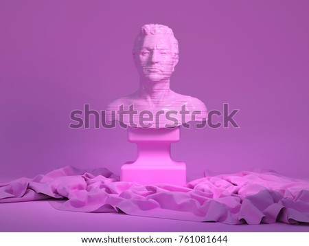 3d rendering of abstract human portrait with horizontal stripes bumped texture. Torso still life with drapery. Stylized bust sculpture object on pink background with cloth folds stock photo