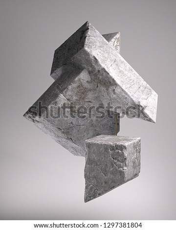 3d rendering of abstract monolith composition with concrete diagonal shapes. Geometric heavy cement blocks levitate. Isolated  on grey background