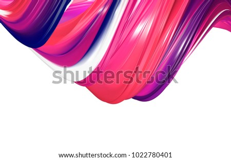 3D rendering of abstract twisted shape of paint. Computer generated geometric digital art. stock photo