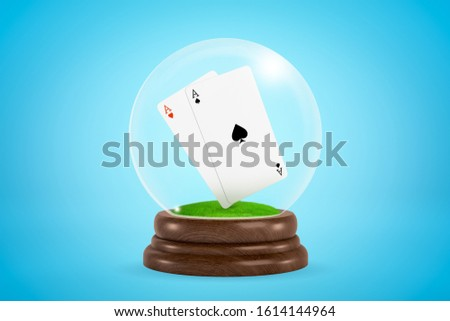 3d rendering of ace of hearts and ace of spades floating inside glass ball globe on blue background. Playing cards. Gambling addiction. Casino business.