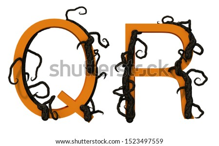 3d rendering of alphabet decorated with tree branch Photo stock ©