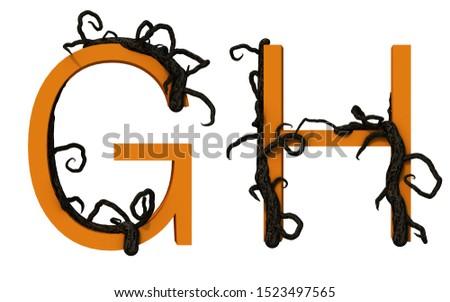 3d rendering of alphabet decorated with tree branch Imagine de stoc ©