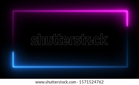 3D rendering of an abstract bright neon frame. Luminous neon line of a rectangular path. Web Background Laser Show