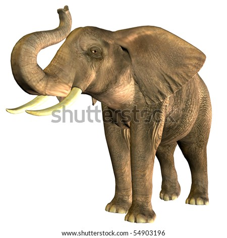 3D rendering of an African elephant trumpet in Pose