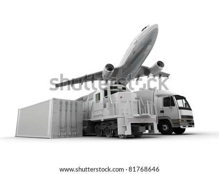 3D rendering of an airplane a truck a freight train and a cargo container against a neutral background