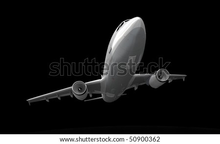 3D rendering of an airplane flying against a black background