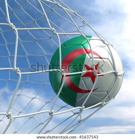 3d rendering of an Algerian soccer ball in a net