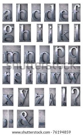 3D rendering of an alphabet in metallic typescript print letter cases including many symbols (lower-case)