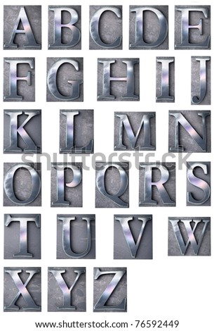 3D rendering of an alphabet in metallic typescript print letter cases (upper-case)