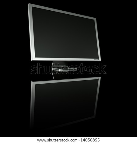 3d rendering of an aluminum monitor on black reflective ground