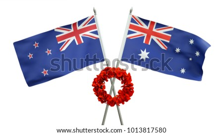 3D rendering of an Australian and New Zealand flag with poppy wreath commemorating ANZAC day