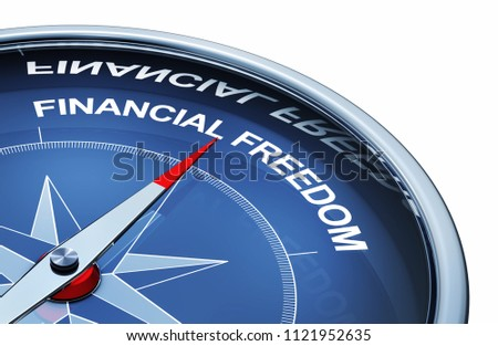 3D rendering of an compass with the words financial freedom