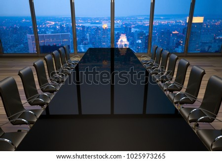 3D rendering of an empty boardroom in an office at New York City
