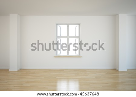 3d rendering of an empty room with an open window