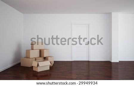 3d rendering of an empty room  with dark wood floor, cardboard boxes and an open door
