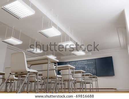 3D rendering of an empty typical classroom
